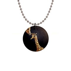 Baby Giraffe And Mom Under The Moon Button Necklace