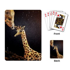 Baby Giraffe And Mom Under The Moon Playing Cards Single Design