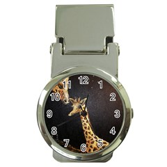 Baby Giraffe And Mom Under The Moon Money Clip with Watch