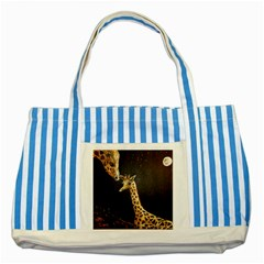 Baby Giraffe And Mom Under The Moon Blue Striped Tote Bag