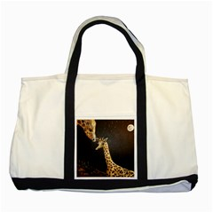 Baby Giraffe And Mom Under The Moon Two Toned Tote Bag