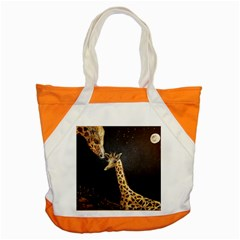 Baby Giraffe And Mom Under The Moon Accent Tote Bag