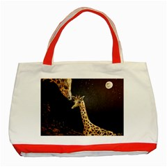 Baby Giraffe And Mom Under The Moon Classic Tote Bag (red)
