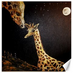 Baby Giraffe And Mom Under The Moon Canvas 12  X 12  (unframed)