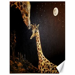Baby Giraffe And Mom Under The Moon Canvas 18  x 24  (Unframed)