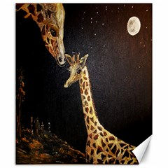 Baby Giraffe And Mom Under The Moon Canvas 20  x 24  (Unframed)