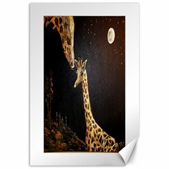 Baby Giraffe And Mom Under The Moon Canvas 24  x 36  (Unframed)