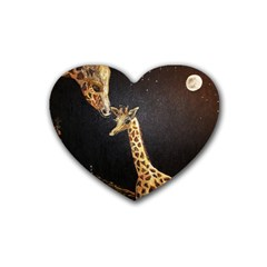 Baby Giraffe And Mom Under The Moon Drink Coasters (Heart)