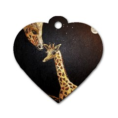 Baby Giraffe And Mom Under The Moon Dog Tag Heart (One Sided)