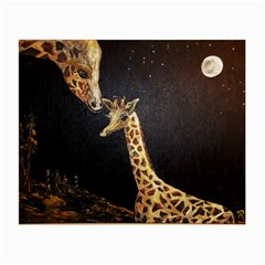 Baby Giraffe And Mom Under The Moon Glasses Cloth (Small, Two Sided)