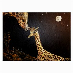 Baby Giraffe And Mom Under The Moon Glasses Cloth (large)