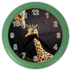 Baby Giraffe And Mom Under The Moon Wall Clock (Color)
