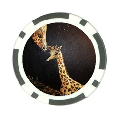 Baby Giraffe And Mom Under The Moon Poker Chip