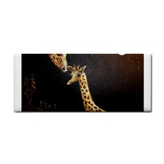 Baby Giraffe And Mom Under The Moon Hand Towel