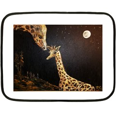 Baby Giraffe And Mom Under The Moon Mini Fleece Blanket (Two Sided)