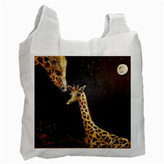 Baby Giraffe And Mom Under The Moon White Reusable Bag (two Sides)