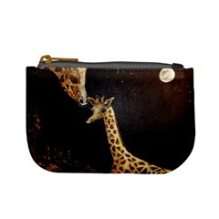 Baby Giraffe And Mom Under The Moon Coin Change Purse