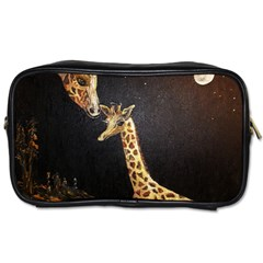 Baby Giraffe And Mom Under The Moon Travel Toiletry Bag (one Side)