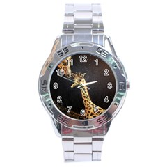 Baby Giraffe And Mom Under The Moon Stainless Steel Watch
