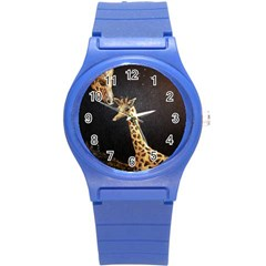Baby Giraffe And Mom Under The Moon Plastic Sport Watch (small)