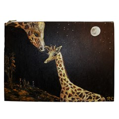 Baby Giraffe And Mom Under The Moon Cosmetic Bag (XXL)