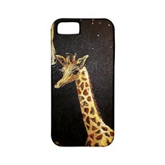 Baby Giraffe And Mom Under The Moon Apple Iphone 5 Classic Hardshell Case (pc+silicone)