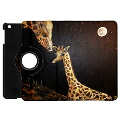 Baby Giraffe And Mom Under The Moon Apple iPad Mini Flip 360 Case