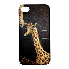 Baby Giraffe And Mom Under The Moon Apple Iphone 4/4s Hardshell Case With Stand