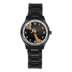 Baby Giraffe And Mom Under The Moon Sport Metal Watch (black)