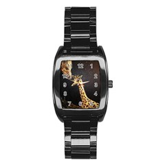 Baby Giraffe And Mom Under The Moon Stainless Steel Barrel Watch