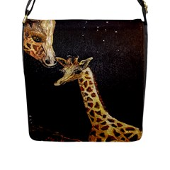 Baby Giraffe And Mom Under The Moon Flap Closure Messenger Bag (Large)