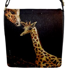 Baby Giraffe And Mom Under The Moon Flap Closure Messenger Bag (Small)