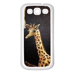 Baby Giraffe And Mom Under The Moon Samsung Galaxy S3 Back Case (white)