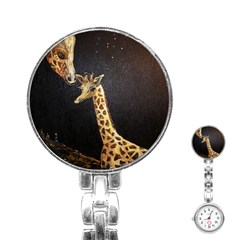 Baby Giraffe And Mom Under The Moon Stainless Steel Nurses Watch