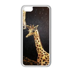 Baby Giraffe And Mom Under The Moon Apple iPhone 5C Seamless Case (White)