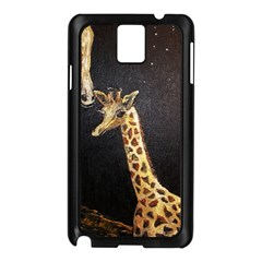 Baby Giraffe And Mom Under The Moon Samsung Galaxy Note 3 N9005 Case (Black)