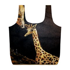 Baby Giraffe And Mom Under The Moon Reusable Bag (L)