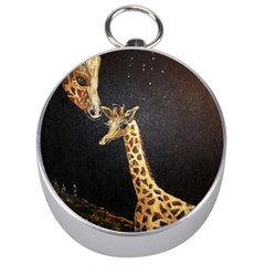 Baby Giraffe And Mom Under The Moon Silver Compass