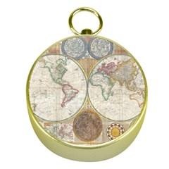 1794 World Map Gold Compass