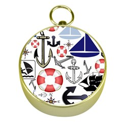 Nautical Collage Gold Compass