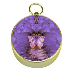 Artsy Purple Awareness Butterfly Gold Compass