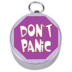 Purple Don t Panic Sign Silver Compass