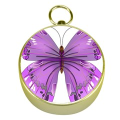 Purple Awareness Butterfly Gold Compass