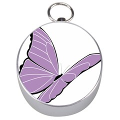 Purple Awareness Butterfly 2 Silver Compass