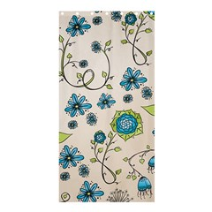 Blue Flowers On Beige Shower Curtain 36  X 72  (stall)