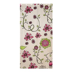 Pink Whimsical Flowers on beige Shower Curtain 36  x 72  (Stall)