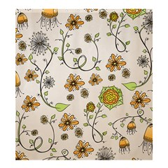 Yellow Whimsical Flowers on Beige Shower Curtain 66  x 72  (Large)