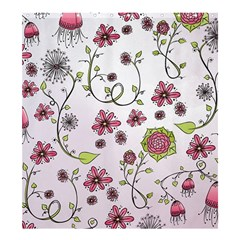 Pink Whimsical Flowers on Pink Shower Curtain 66  x 72  (Large)