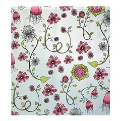Pink Whimsical Flowers On Blue Shower Curtain 66  X 72  (large)