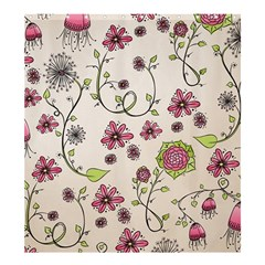 Pink Whimsical Flowers On Beige Shower Curtain 66  X 72  (large)